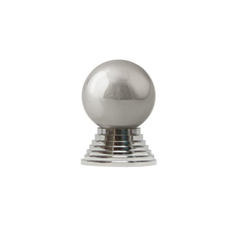 Betsy simple round nickel knob with tiered stem.