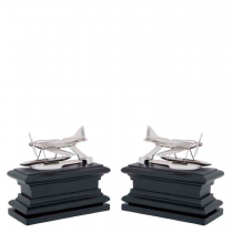 Hydroplane Nickel & Black Wood Bookend Set of 2
