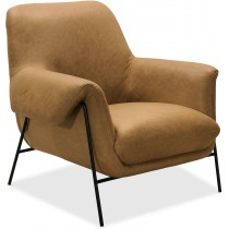 Ambroise Metal Frame Brown Armchair