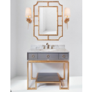 Worlds Away Owen Grey & Gold Vanity with White Marble Top